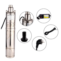 SHYLIYU Submersible Screw Pump 4 Inch OD Pipe Deep Well Submersible Irrigation Pump 0.5 hp Water Pump 1 Outlet with Control box