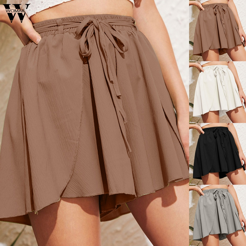 Womail Shorts  Women's  Short High Waist Straight Button Embellished Pocket Wide Leg Summer  Cotton Shorts Skirts 2019 May23