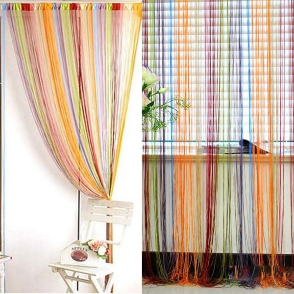 1*2m String Curtain Window Door Fringe Panel Room Divider Drape Strip Tassel Candy Color