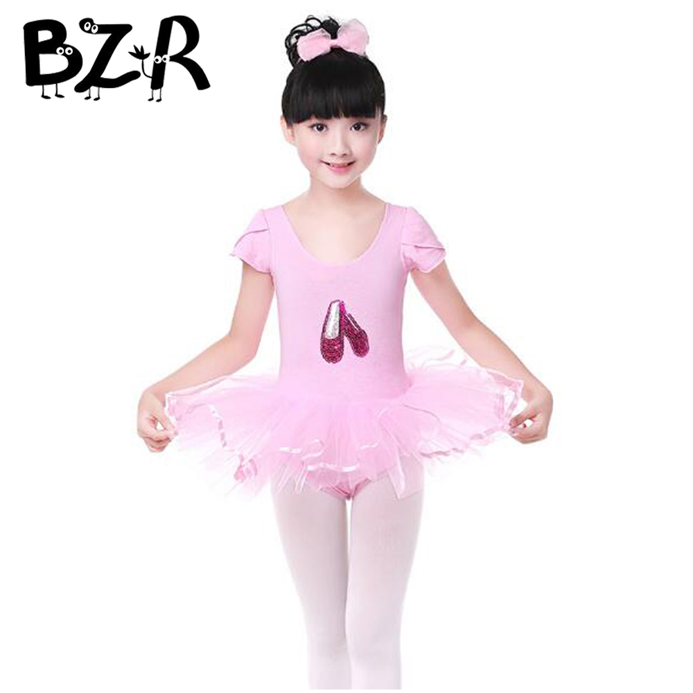 Bazzery Modern Dance Dress for 90cm - 165cm Girls Pink Veil Dancing Dresses Short Sleeve Tutu with Dance Shoes Image