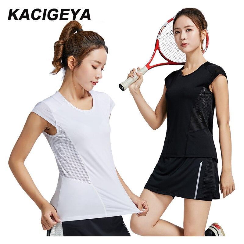 Camiseta deportiva de Fitness Yoga nueva camiseta ajustada de verano de manga corta para mujeres Sexy malla entrenamiento ropa deportiva blanco negro Running transpirable camiseta