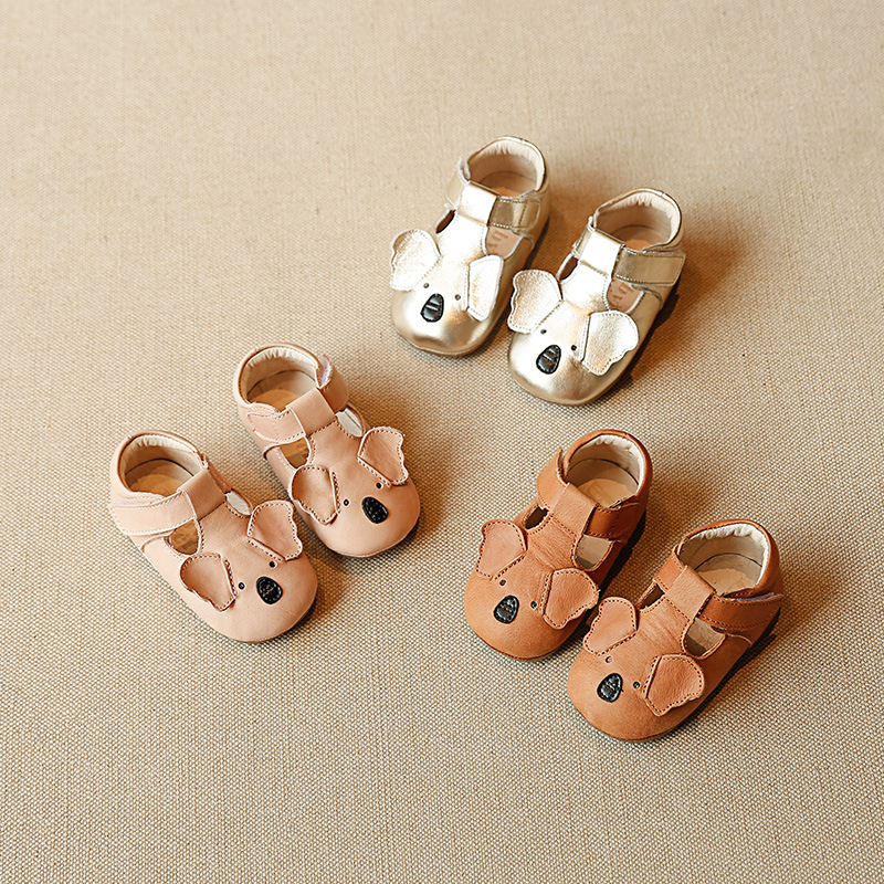 Genuine Leather Newborn Baby Shoes Cartoon Koala Healthy Leather Breathable Girls Shoes First Walkers Hard Bottom Baby Moccasins