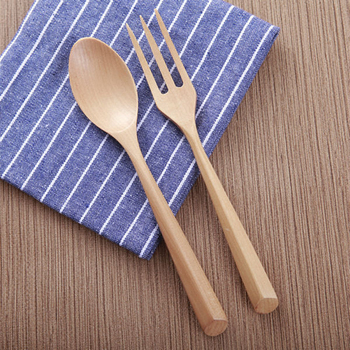 Natural Wood Dinnerware Set Handmade Salad Dinner Fork Desert Teaspoon Wooden Cutlery Set For Kids Kitchen Picnic Tableware Set