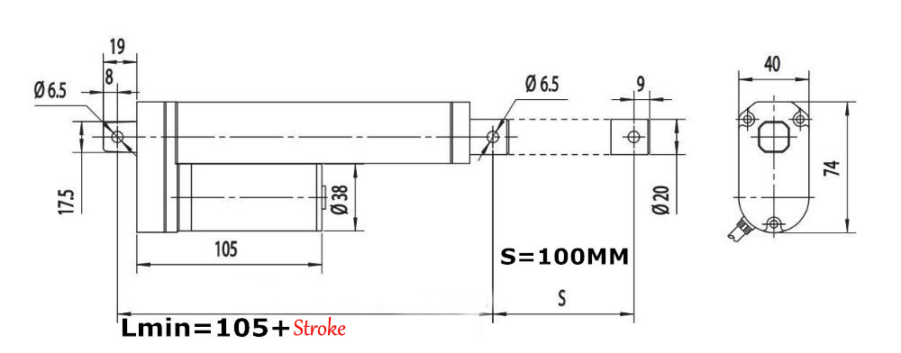 200/250/300/450mm Stroke 90KG Load Mini Electric Actuator Linear Tubular Motor Motion 12V DC
