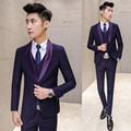 Purple Prom Suit Costume Mariage Homme Navy Purple Tuxedos for Men Suits Wedding Groom Slim Fit Shinny Collar  Formal Suit Men