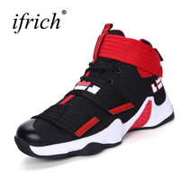 2017 New Brand Men Basketball Shoes High Top Athletic Trainers Men Boys Comfortable Basketball Boots Black