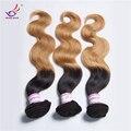 Sutil 7A malasia pelo ondulado rubio ombre extensión del pelo 27 # 1B # color de la mezcla barato verdadero amor hair products 4 bundles cuerpo onda