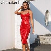 Glamaker Sexy Deep V Neck Halter Leather Pencil Dress Women Back Split Zipper Long Summer Dress