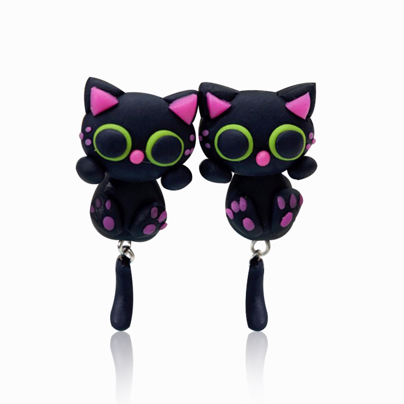 New Fashion Polymer Clay Lovely Cartoon Stud Earrings Animal Handmade DIY Black Cute Charms Cat Earrings Women Jewelry Gift