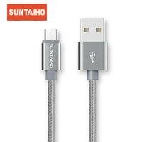 Suntaiho 마이크로 USB 케이블 5V 2.4A USB 마이크로 USB 케이블에 화웨이 LG 나일론에 대한 삼성 샤오미 충전기 케이블에 대한 빠른 충전 코드