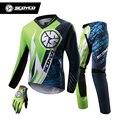 SCOYCO Motocicleta Camisa De Corrida Profissional + Luvas de Dedos Completos + Almofadas de quadril Definir MTB DH MX de Motocross Off-Road Da Bicicleta Da Sujeira roupas