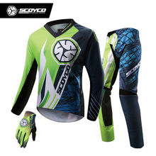 SCOYCO Professional Motorcycle Racing Jersey + Full Finger Gloves + Hip Pads Set Motocross Off-Road Dirt Bike MTB DH MX Clothing