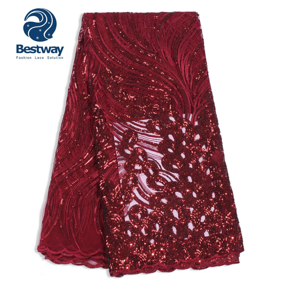 Bestway Tulle French Net Embroidery Sequins Lace Mesh Nigerian Wine Red Fabrics Lace For Women's Evening Wedding Party/Dresses-in Lace from Home & Garden    1