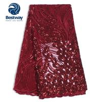 Bestway Tulle French Net Embroidery Sequins Lace Mesh Nigerian Wine Red Fabrics Lace For Women's Evening Wedding Party/Dresses