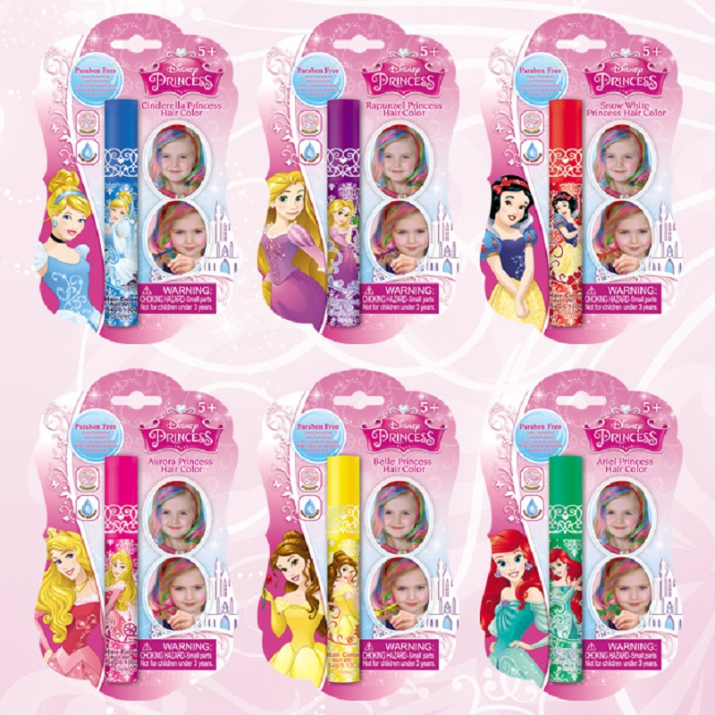 Disney Princess  Brightening Hair Coloring Pen Child Makeup Girl Cosmetics House Toys Birthday Gift Toys Girl Games Play
