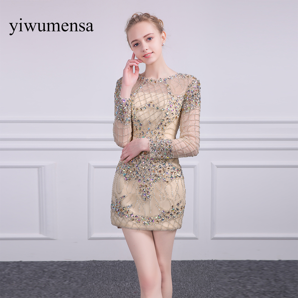 yiwumensa New Arrival robe de soiree longue 2017 Champagnes Long Sleeves   Evening     Dress   Custom made   Evening   Party Gowns   dresses