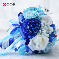 XCOS 2018 Bridal Bouquet for Wedding Decoration Blue and White Wedding Bouquet Handmade Artificial Flower Rose buque casamento