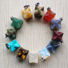 Wholesale 12pcs/lot 2019 new fashion assorted natural stone mixed Melkaba Hexagram Pendants charm for jewelry making free