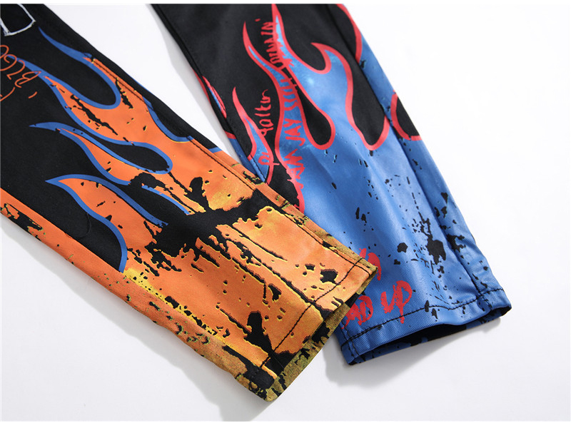 Sokotoo Men's fashion letters flame black printed jeans Slim straight colored painted stretch pants 58