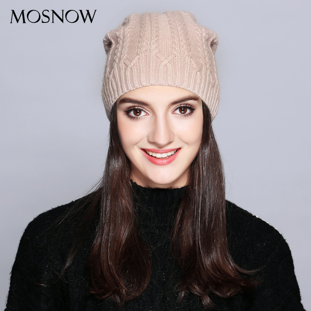 76ed8032203 MOSNOW Woman Winter Hats Wool Solid New Autumn 2018 High Quality Fashion  Winter Knitted Hat Female Skullies Beanies  MZ707A