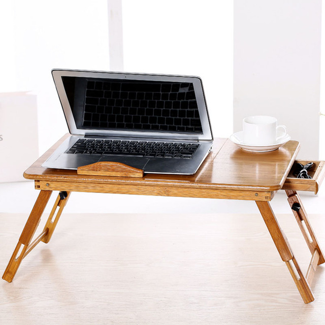 Adjule Foldable Portable Bamboo Computer Stand Laptop Desk Notebook Table For Bed Sofa