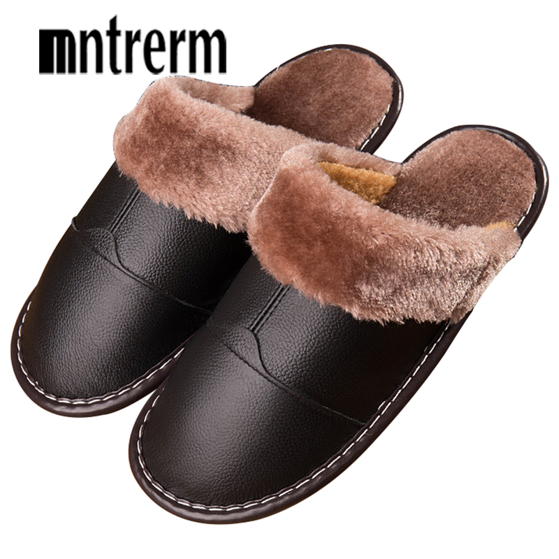 Mntrerm New Winter Men Genuine Leather Slippers Fur Warm Plush Leather Stitching Slides Oxford Flat Man Home Waterproof Shoes