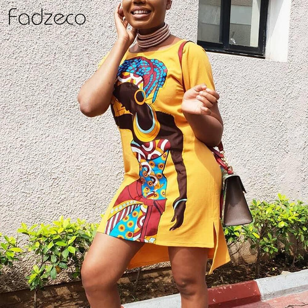 Fadzeco New Style Classic African Women Dress Dashiki Fashion Printed Long Shirt Dress Short Sleeve Ethnic Summer Dress