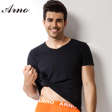 ARNO Summer Men T-shirt  Breathable Plain White Shirt Solid Short Sleeved V Neck T Shirts For Soft Undershirts ManT50103
