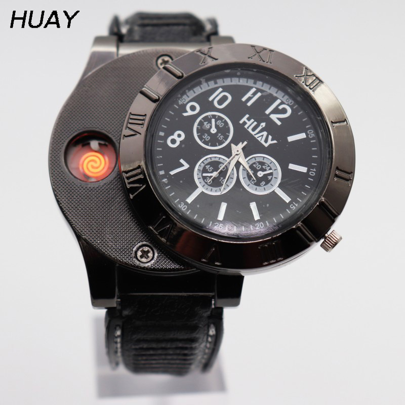 Watch Men Quartz Lighter Watches USB Charging Sports Wristwatches Flameless Outdoor Cigarette Lighter Clock Male Gift  F665