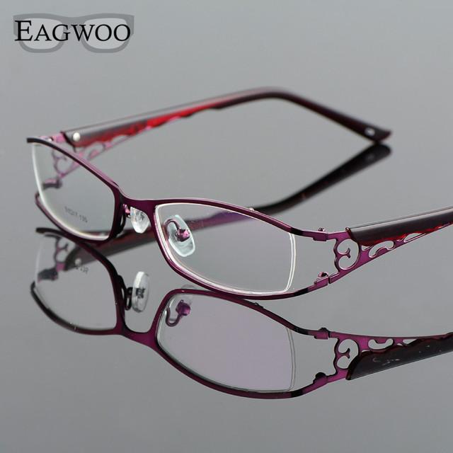 Liga Metel Óculos de Aro Full Frame Ótico Prescrição Mulheres Óculos De Leitura Espetáculo Miopia Olho Flor Roxa 300782