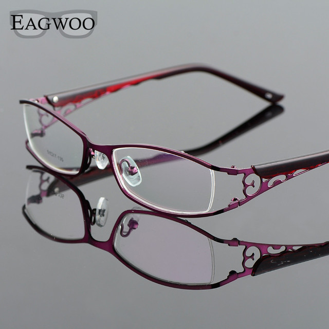 Metel Alloy Eyeglasses Full Rim Optical Frame Prescription Women Spectacle Reading Myopia Flower Eye Glasses Purple 300782