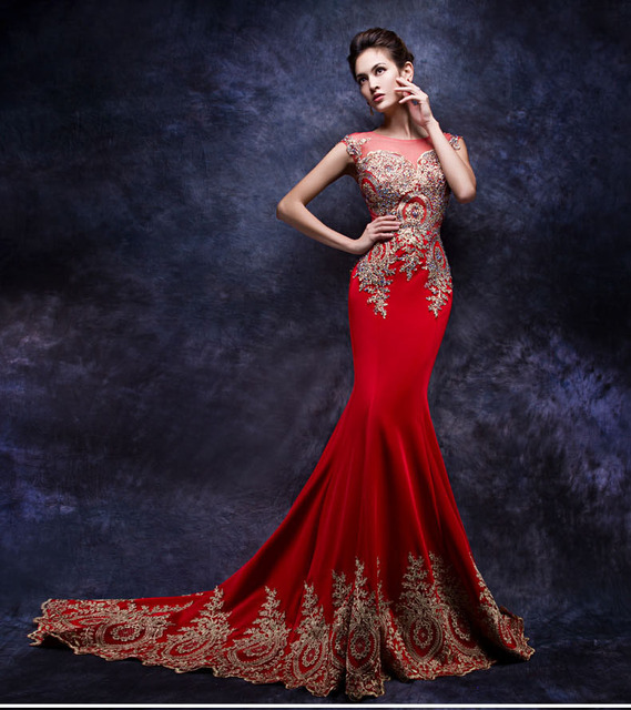 daw3442 sirena rojo y oro tren largo vestido de boda chino con