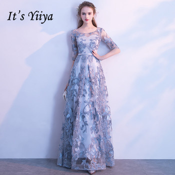 It's YiiYa Evening Dress Gray Floral Print Embroidery Formal Dresses O-neck Half Sleeve A-line Floor length Party Gown  E039