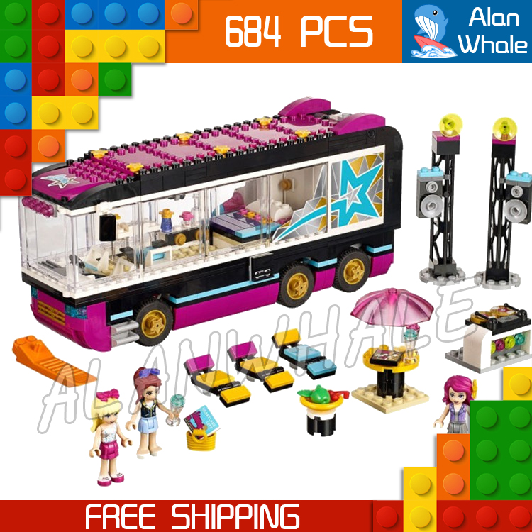 684pcs Friends Pop Star Tour Bus Party Stephanie 10407 Figure Building Blocks Children Sets Kids Toys  Compatible With LegoING-in Blocks from Toys & Hobbies