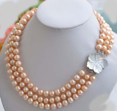 100% Selling full HOT 3 ROW 9-10 mm PINK Pearl NECKLACE 17-19''
