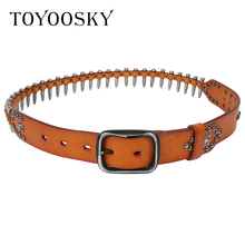 Gothic Punk Luxury Bullet Mens Belt Genuine Leather Rivet Skull Men Female Black Strap Girdle For