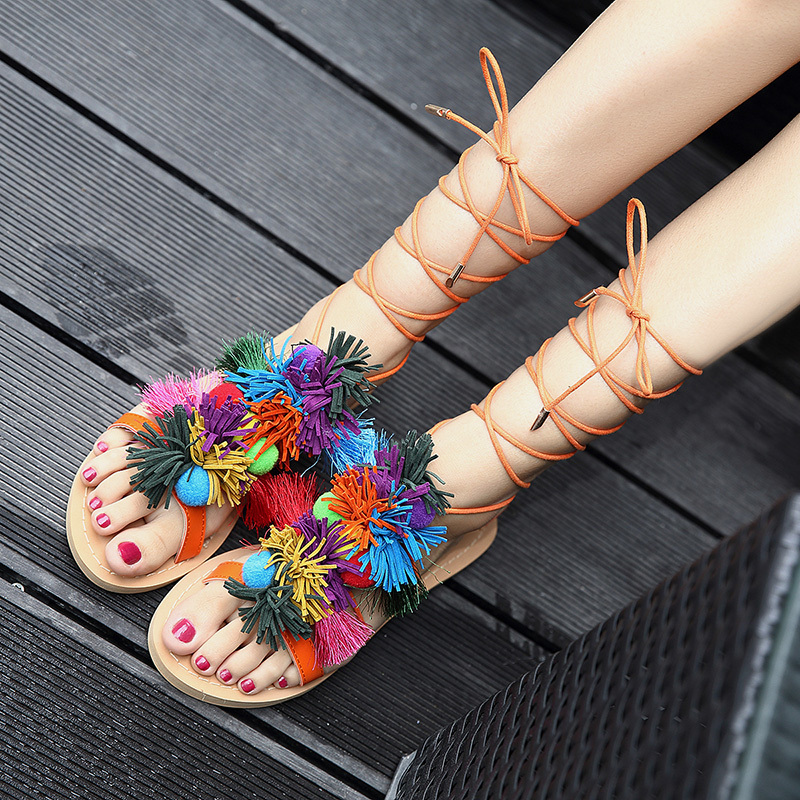 fashion pom pom new designer sandals cross tied bohemian hairball flat sandals women shoes tassel lace up mixed colors national 2017 Women Bohemia Gladiator Multicolored Pom Pom Sandals Lace Up Flat Heel Fringe Tassel Boho Sandalias Con Pompones Shoes