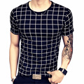 2017 Summer T Shirt Men Casual Plaid T Shirts Short Sleeve T Shirt Slim Fit T Shirts O Neck Leisure Men's Tops Tees 5XL