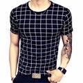 2017 Verano Hombres de la Camiseta A Cuadros Informal Camisetas de Manga Corta T Shirt Slim Fit Camisetas O Cuello Ocio de Los Hombres Remata camisetas 5XL