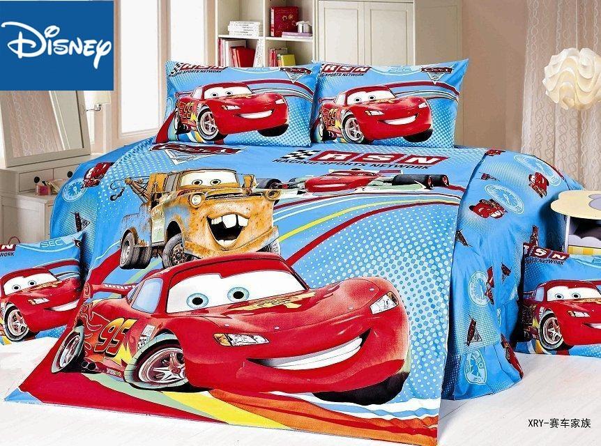 disney cartoon bedding 3D Mcqueen car bed linens kids twin size bed set 4pc boys home textile autumn winter bedspread sanding