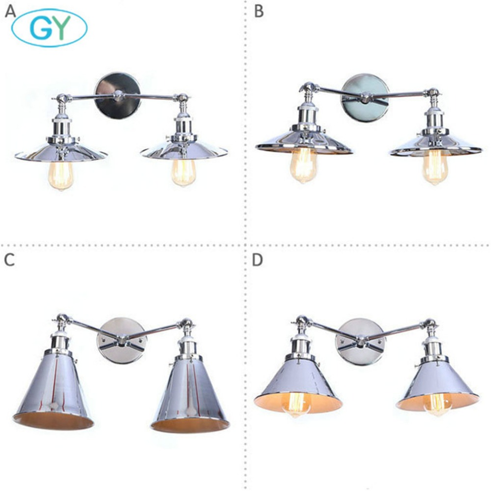 Antique Double Wall Sconce Vintage Industrial 2-Lights Wall Light with High Quality Chrome Finish Luminaires for Home LightingAntique Double Wall Sconce Vintage Industrial 2-Lights Wall Light with High Quality Chrome Finish Luminaires for Home Lighting