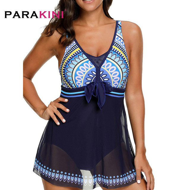 PARAKINI 2019 New printed gauze long skirt one-piece swimsuit plus fertilizer to increase large size ladies beach swimwear 1