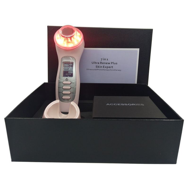 High Frequency Ultrasonic Vibration Galvanic Current PDT Photonic Skin Rejuvenation Wrinkle Remover Face Lift Led Beauty Device portable high frequency ultrasonic vibration galvanic current photon skin rejuvenation face lifting slimming beauty instrument