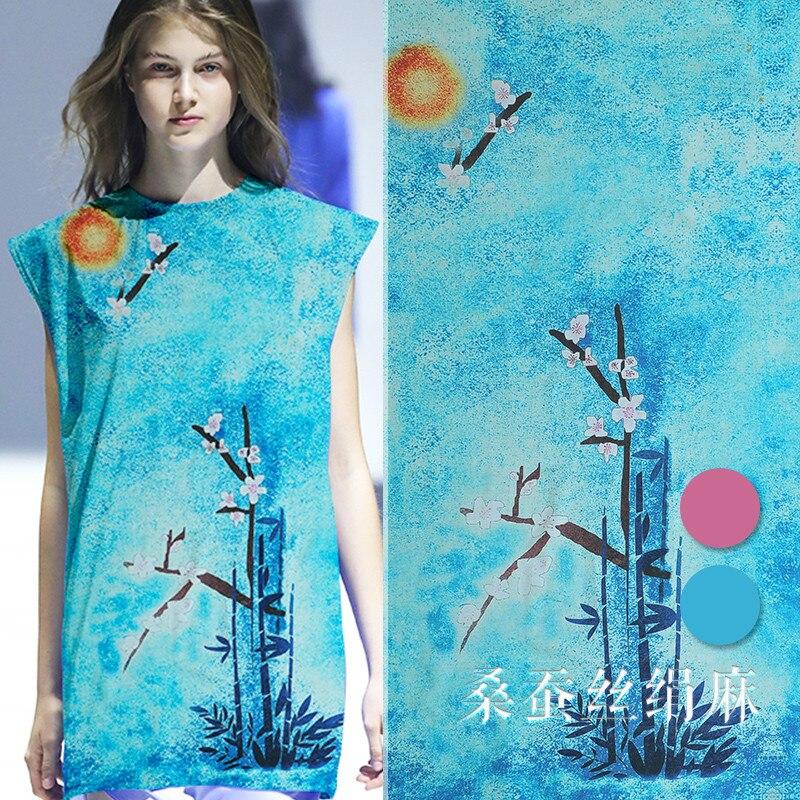 130 cm de large soie lin tissu 35mm bambou soie ramie soie lin mélange tissu soie tissu matériel rétro