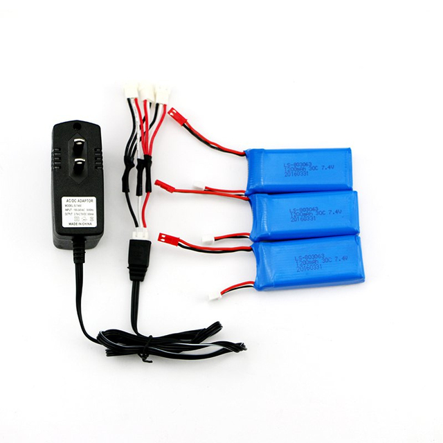 3 Pcs 7.4V 1200mAh 30C Battery + Charger and Connecting Cable for Yizhan X6 / MJX X600 X601H RC Quadcopter