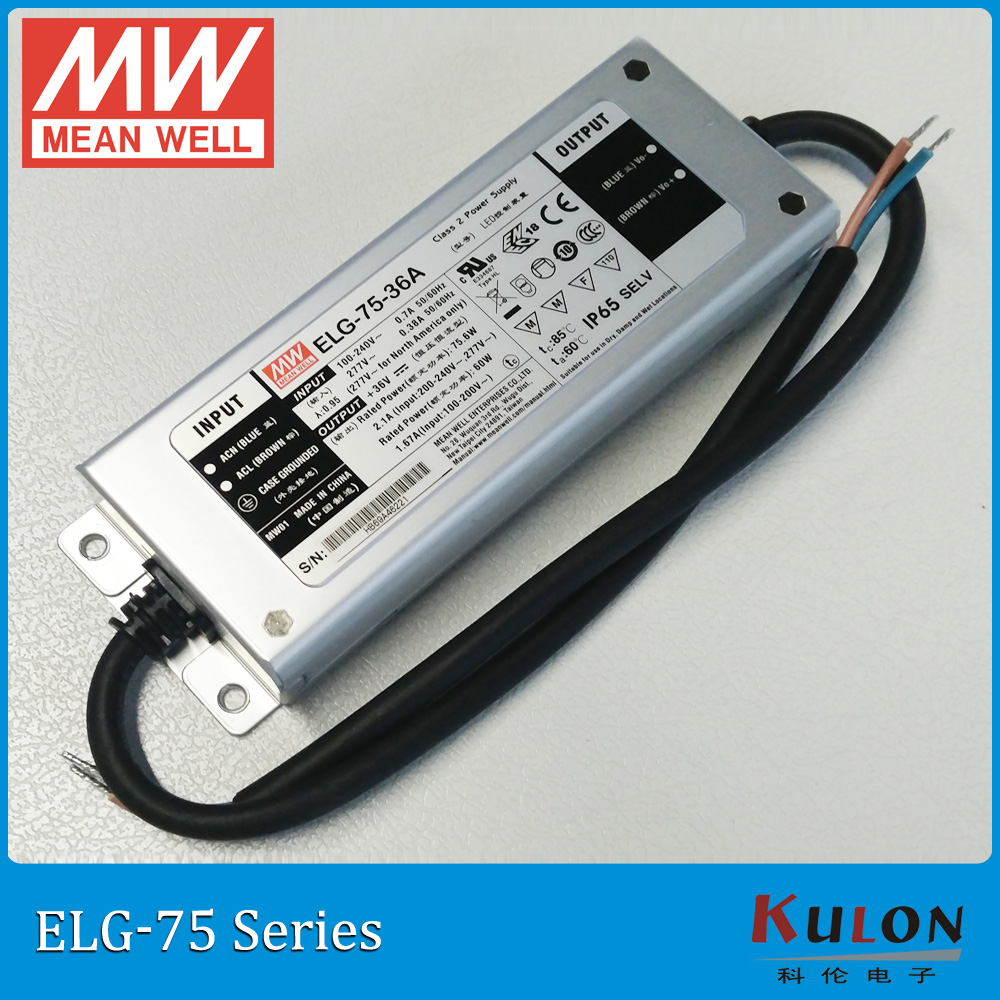 Original Mean Well led driver ELG-75-36A 75W 2.1A 36V Adjustable Meanwell Power Supply ELG-75 A type IP65 1pcs 75w 36v power supply 36v2a led driver 36v 2a power supply 36v 75w s 75 36