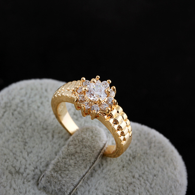 Unique Crystal Flower Watch Band Shaped Ring Real Yellow