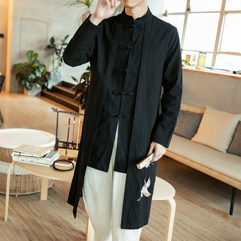 Mens Spring Autumn Fake Two Piece Long Trench Cotton Linen Solid Jackets Male Traditional Chinese Clothing Tang Suits CN-114 цепь велосипедная shimano cn hg40 114 зв