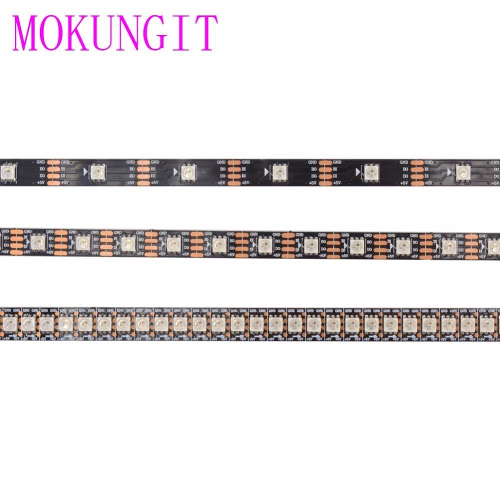1M/5M WS2813 LED Strip 5050 RGB Addressable WS2812B Smart led pixel strip IP30/IP65/IP67 Black White PCB, 30/60/144 leds/m DC5V цена