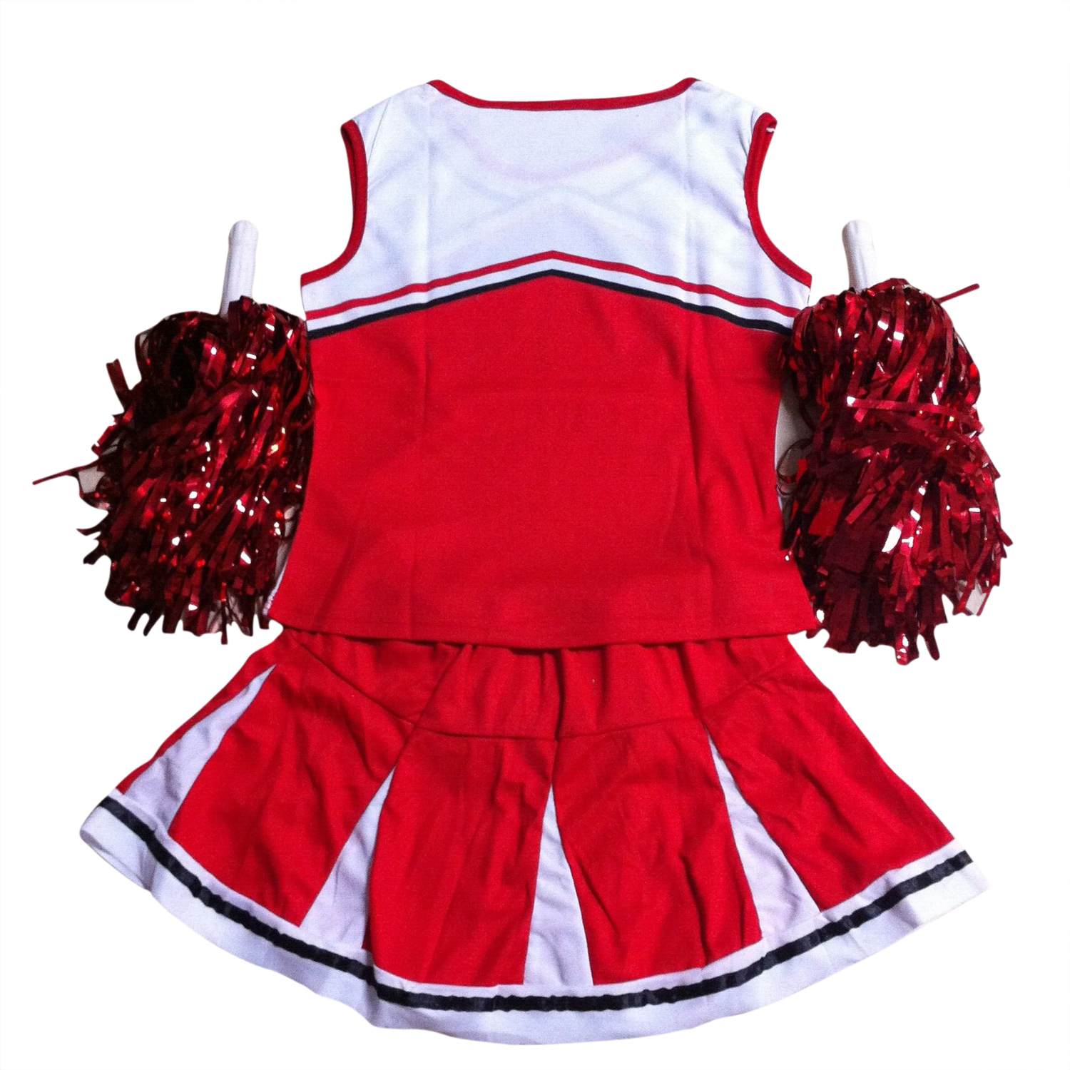 Tank top Petticoat Pom-poms cheer leaders 2 piece suit new red costume RED